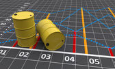 Two yellow barrels with a linear graph
