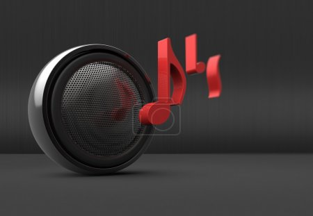 Photo for Speaker and music notes as backround - Royalty Free Image