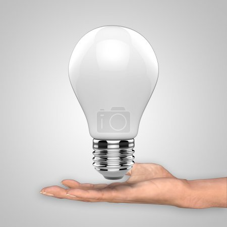 Photo for Light bulb with hand as concept idea - Royalty Free Image