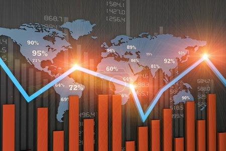 Photo pour Tableau des activités financières et développement économique - image libre de droit