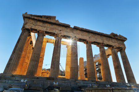 Photo for A wide shot from underneath the famous Greek monument in Athens: The Parthenon - Royalty Free Image