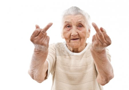 very old woman showing her middle finger