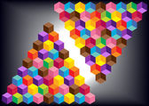 Abstract vector background with two colorful pyramids made of dimensional cubes