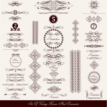 Illustration pour Ensemble d'éléments décoratifs calligraphiques vintage - image libre de droit