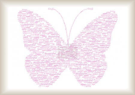 Vintage butterfly made of pink words