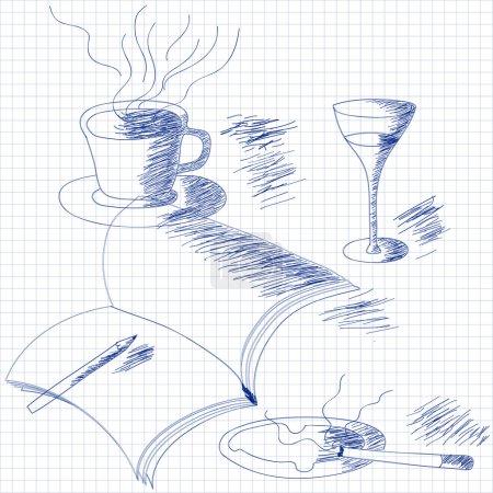 Still life sketch on grid paper