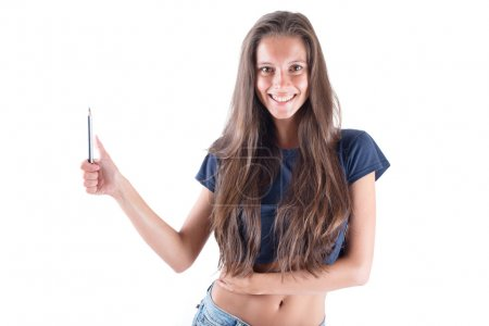 Young beautiful creative woman with pencil