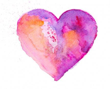 Photo pour Coeur aquarelle - image libre de droit