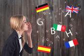 Cizí jazyk. koncept - učení, mluví, cestování