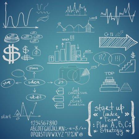 Photo pour Éléments de financement des entreprises. Dessiné à la main - image libre de droit