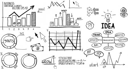 Illustration for Business finance elements. Hand-drawn - Royalty Free Image