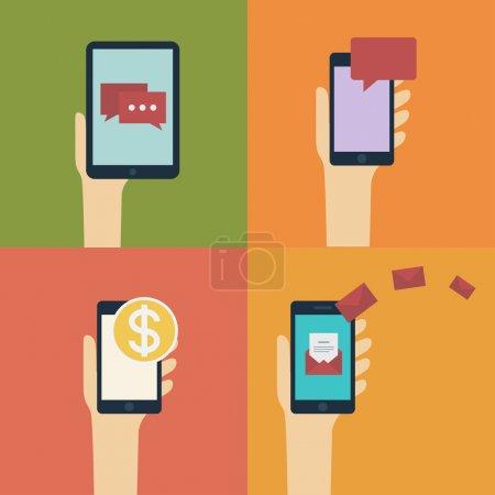 Hand holding smart / mobile phone and tablet. Vector flat design illustration