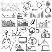 Ruční čerpat doodle web grafy obchodní finanse prvky na tabuli křídou. koncept - graf, graf, koláč, šipky značky