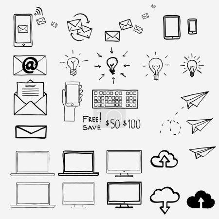 Illustration pour Dessinez à la main des icônes doodle. Concept internet bureau de travail shopping . - image libre de droit