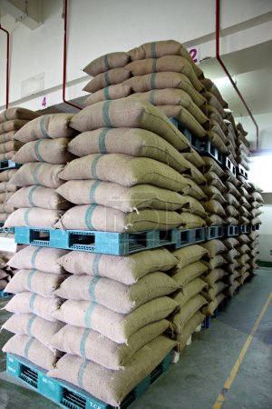 Photo pour Empilés de sacs de riz sur palette en plastique dans l'entrepôt . - image libre de droit