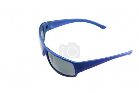 closeup blue sunglasses isolated.