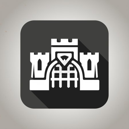 Black flat castle icon for web and mobile applications