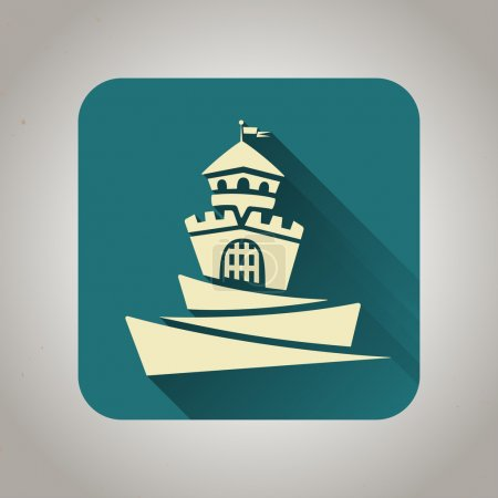 Blue flat icon with castle for web and mobile applications