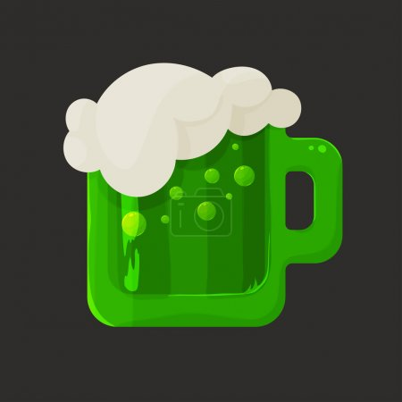 Stylized shiny glass mug with green beer and foam