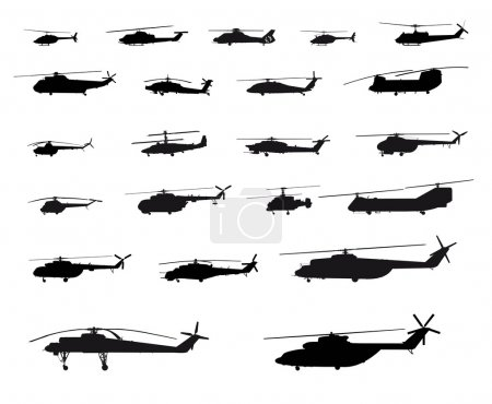 Illustration for Vector Illustration Of Helicopters On White Background - Royalty Free Image