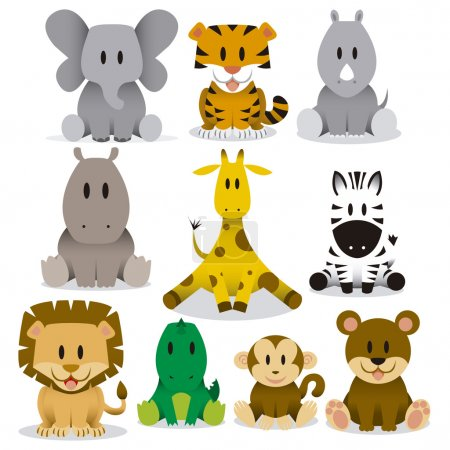 Illustration for A set of cute vector cartoon wild animals - Royalty Free Image