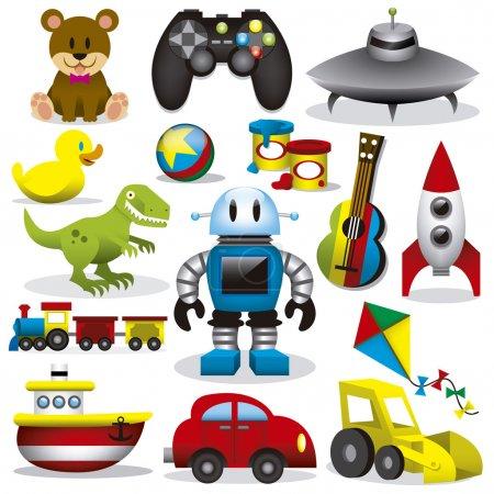 Illustration pour Un ensemble de différents jouets vectoriels mignons - image libre de droit