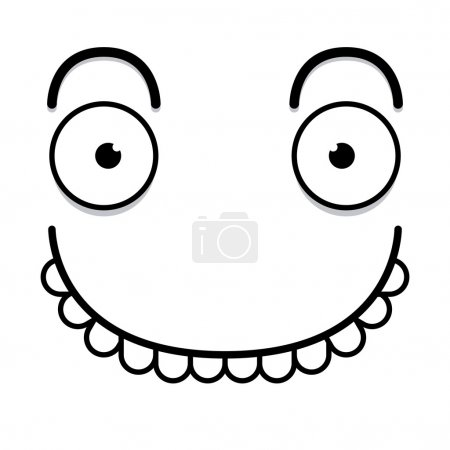 Illustration for A Vector Cute Cartoon White Happy Face - Royalty Free Image