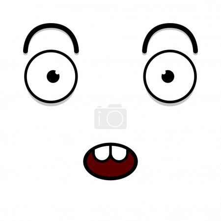 Illustration for Vector Cute Cartoon White Surprised Face - Royalty Free Image