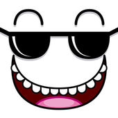 A Vector Cute Cartoon White Face With Sunglasses