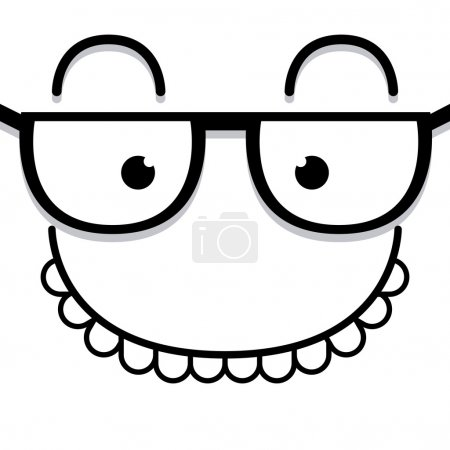 Illustration for Vector Cute Cartoon White Face With Glasses - Royalty Free Image