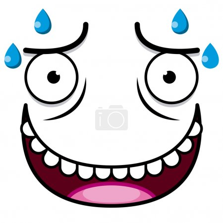 Illustration for Vector Cute Cartoon White Sweaty Face - Royalty Free Image