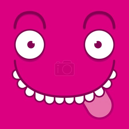 A Vector Cute Cartoon Pink Face With Tongue Out