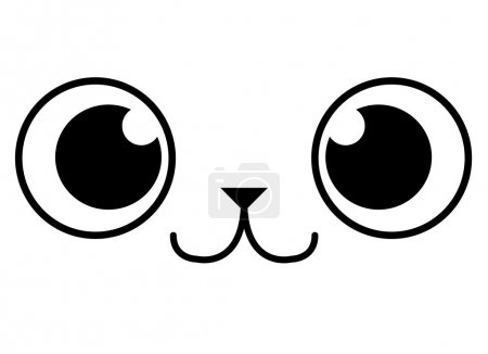 Illustration for Vector Cartoon Adorable Animal Face Isolated On White Background - Royalty Free Image