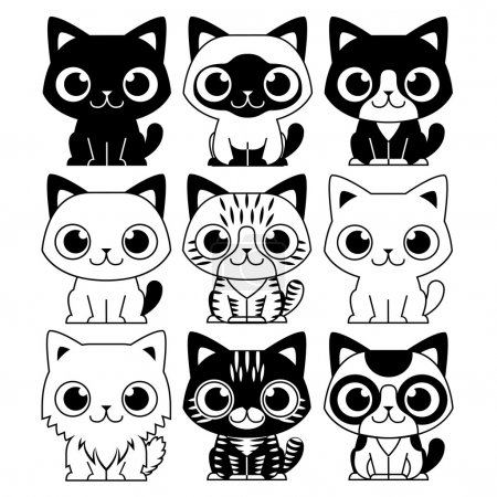 Set Of Different Adorable Cartoon Cats Isolated