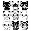 Vector Set Of Different Adorable Cartoon Cats Isol...