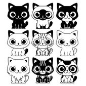 Vector Set Of Different Adorable Cartoon Cats Isolated