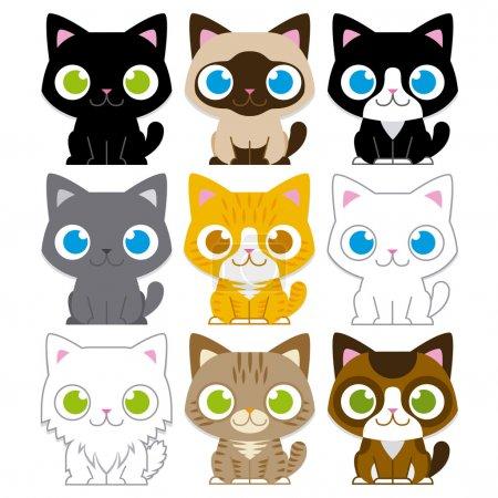 Illustration pour Jeu de différents caricature adorables chats isolés vectorielles - image libre de droit