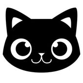 Cartoon Adorable Cat Face Isolated Illustration