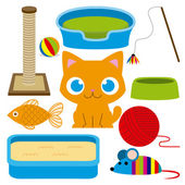 Cartoon Adorable Cat With Different Toys And Elements