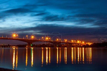 Night bridge over the Volga river in Yaroslavl....
