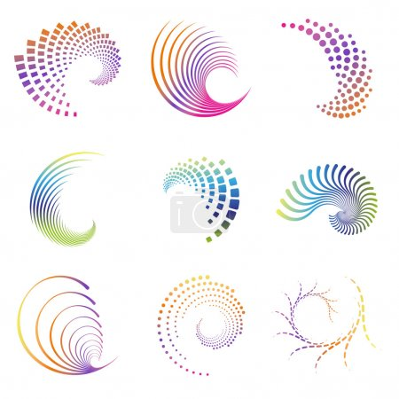 Illustration for Set of nine abstract design creative wave icons. Colors easy to change in eps and ai format. These can be used for party, business, wave, motion, graphics, as design element, as a swirl etc. - Royalty Free Image