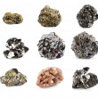 Ore minerals set isolated on white...