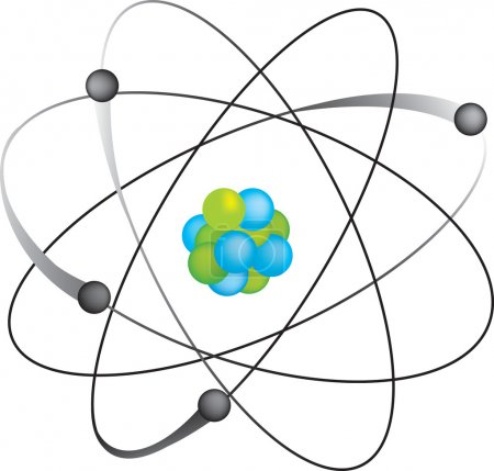 Illustration for Atom isolated on white background in vector format - Royalty Free Image