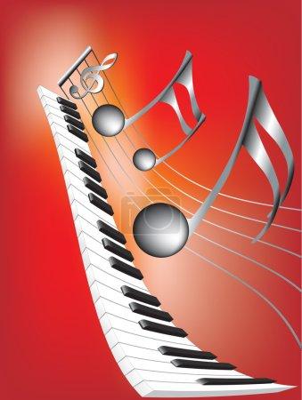 Illustration pour Illustration vectorielle pour notes de musique et clavier sur fond rouge abstrait - image libre de droit