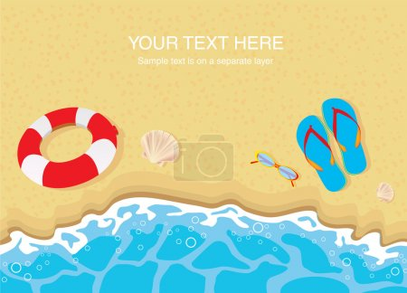 Illustration for Flip flops , lifebelt , sunglasses and shells on sandy beach - Royalty Free Image