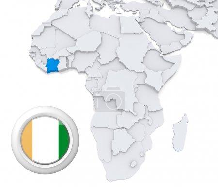 Ivory coast on Africa map