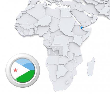 Djibouti on Africa map