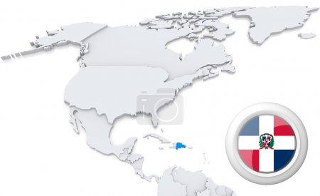 Photo pour Dominicaine en surbrillance sur la carte de l'Amérique du Nord avec drapeau national - image libre de droit