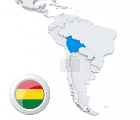 Bolivia on a map of South America