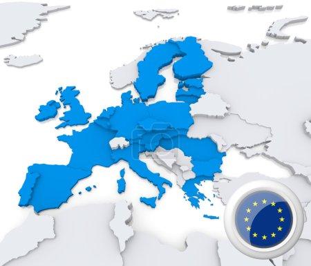 Photo pour UE en surbrillance sur la carte de l'europe avec drapeau national - image libre de droit